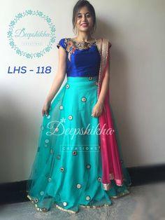 Lehenga Gown, Bridal Lehenga Choli, Anarkali Dress, Blue Lehenga, Anarkali Suits, Half Saree Designs, Lehenga Designs, Blouse Designs, Blouse Styles