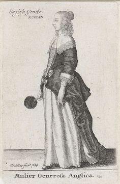 Wenceslaus Hollar | Mulier Generosa Anglica, Wenceslaus Hollar, 1644 | Engelse vrouw van stand, in profiel naar links, gekleed in een donker overkleed en een licht onderkleed met geschulpte rand. Over de schouders valt een platte kraag, afgezet met kant. Handschoenen aan en in de rechterhand een veren waaier. Het haar valt in pijpenkrullen langs het hoofd en is van achteren in een knotje gedraaid.