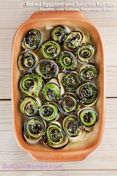 Baked Eggplant and Zucchini Roll Ups - Low Calorie, Vegetarian, Vegan Snack Recipe(Baking Eggplant And Zucchini) Healthy Vegan Snacks, Healthy Food Choices, Diet Snacks, Healthy Recipes, Paleo, Baked Eggplant, Eggplant Recipes, Banting Recipes, Vegetarian Recipes