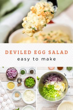 Take the yumminess of deviled eggs and turn it into a salad that is easy to serve, transport, and eat. The delicious tangy flavor, creaminess, and spices of a deviled egg in a picnic friendly salad! Deviled Egg Salad, Easy Egg Salad, Cauliflower Potatoes, Recipe Filing, How To Make Salad, Pinterest Recipes, Original Recipe, Food Photo, Slow Cooker Recipes
