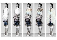 Fashion Sketchbook - fashion design development illustrations for laser cut clothing; fashion portfolio // Lydia Freeborn