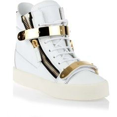 Giuseppe Zanotti White gold leather sneaker ($965) ❤ liked on Polyvore featuring shoes, sneakers, high top trainers, leather hi top sneakers, velcro high tops, giuseppe zanotti shoes and velcro shoes