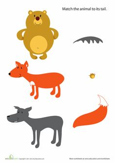 Worksheets: Animal Tails For Kids #4