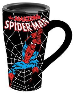 Silver Buffalo MC3288 Marvel Comics SpiderMan Swings Web Ceramic Travel Mug with Friction Lid 18 Ounces Black >>> You can get additional details at the image link.Note:It is affiliate link to Amazon.