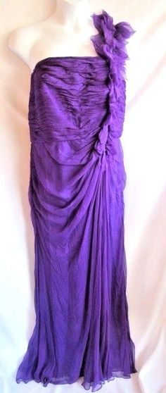 a7112f75795 Tadashi Shoji Dress Plus Size 20W Long Maxi One Shoulder Ruffle Trim Purple   TadashiShoji