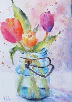 Tulips Spring bouquet mason jar. watercolor by PatChoffrut on Etsy, $50.00