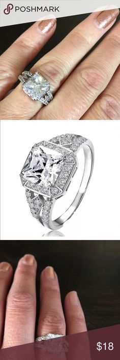 Sterling Silver Square Diamond CZ Engagement Ring Sterling Silver Square Diamond CZ Engagement Ring. Jewelry Rings