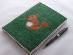 A5 Squirrel Notebook Journal - hand felted by Deborah Iden.  See more by LittleDeb at www.facebook.com/LittleDebFelts