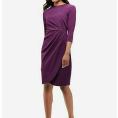 """LAST CHANCE!! The Limited Pleated Tulip Dress HP 2/22  Substantial  stretch knit Invisible back zipper with hook and eye closure 3/4 sleeves Pleated waist, Tulip skirt shape Fully lined From shoulder to back hem 38"""" 41% rayon 52% nylon 7% spandex;  lining 100% polyester NWT  size 10 The Limited Dresses Long Sleeve"""