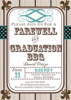Graduation Party Invitations High School Or College And Farewell 2017 Woodgrain Going