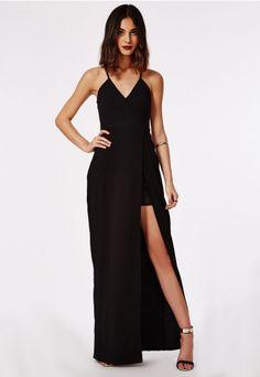 Malva Wrap Maxi Dress Black - Dresses - Maxi Dresses - Missguided