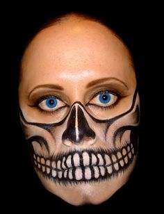 skull face face painting by catherine httppaintbodyideasblogspotcom misc pinterest skull face amazing halloween makeup and halloween stuff - Skull Face Painting Ideas For Halloween
