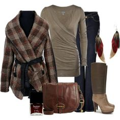 Fall outfit.  Belted plaid coat.