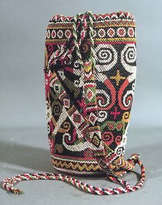 """New Cheap Bags. The location where building and construction meets style, beaded crochet is the act of using beads to decorate crocheted products. """"Crochet"""" is derived fro Tribal Bags, Ethnic Bag, Belt Purse, Boho Bags, Tribal Fusion, Beaded Bags, Borneo, Bead Crochet, Batik Fashion"""