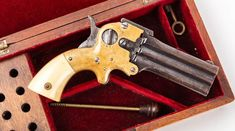 Cased American 3-Shot Wm. W. Marston Three-Barrel Deringer. Made, circa. 1864-1872 Cased American 3-Shot Wm. W. Marston Three-Barrel Deringer. Made,… / MAD on Collections - Browse and find over 10,000 categories of collectables from around the world - antiques, stamps, coins, memorabilia, art, bottles, jewellery, furniture, medals, toys and more at madoncollections.com. Free to view - Free to Register - Visit today. #Weapons #Guns #MADonCollections #MADonC