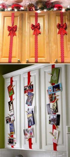 Cute idea for displaying Christmas cards. Simple Christmas Crafts, Apartment Christmas Decorations, Simple Christmas Decorations, Christmas Ribbon Crafts, Christmas Card Display, Christmas Décor, Winter Decorations, Christmas Craft Projects, Xmas Crafts