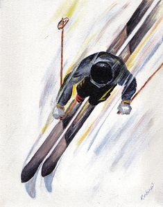 Downhill Skier Painting Print by  Robin Wiesneth on Fine Art America