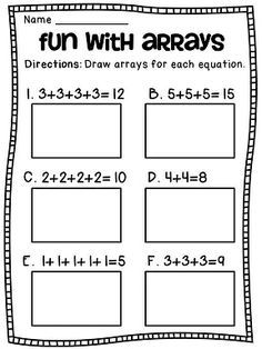 Arrays Arrays Arrays: Big pack of arrays and repeated addition worksheets math centers and activities