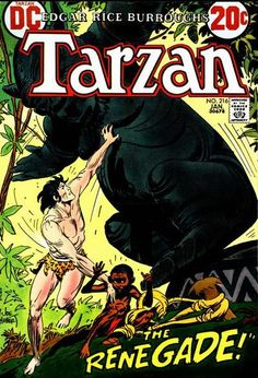 "dccomicsshowcase: "" Forty-two years ago this month, Edgar Rice Burrough's Tarzan cover by Joe Kubert, "" Dc Comic Books, Comic Book Artists, Comic Book Covers, Tarzan Series, Tarzan Of The Apes, Joe Kubert, Cool Artwork, Dc Comics, Cartoon"