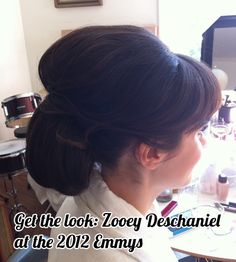 Get the look: Zooey Deschaniel's retro modern updo by Pantene at this year's Emmy Awards.