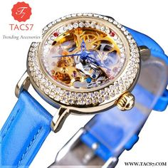 f33f4b4777e Forsining Fashion Blue Lady Diamond Gold Flower Movement Transparent Small  Women Mechanical Skeleton Watch Top Brand