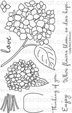 Hydrangea Bouquet -- Raisin Boat stamp rentals, great idea!