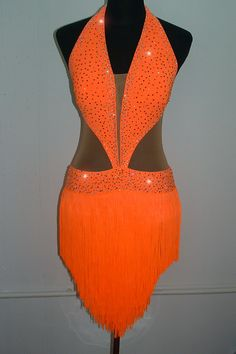 Mango Fringe Latin For Sale, Dance Costumes For Sale, Dance Gowns for sale