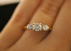 Vintage Three Stone Diamond Engagement Ring with 14k Yellow & White from jkjc on Ruby Lane