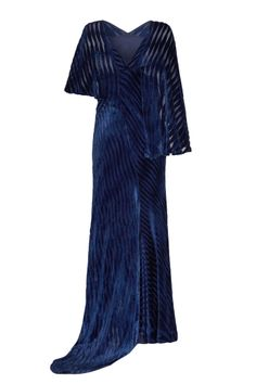 1930's Blue Burnout Velvet Gown With Train This is a truly sensational gown in a rich royal blue velvet with a striped burn out pattern. The unique asymmetrical design features a slightly off centre train and cape style sleeves in different lengths. The main body of the dress features a V neckline at the front, a deeper V at the back is cut on the bias and therefore incredibly flattering, elegant and easy to wear. Fully lined in a complimenting silk lining