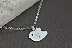 Bird+Necklace+Initial+Necklace+STERLING+by+SilverLotusDesigns,+$24.00
