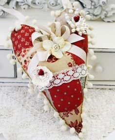 Heart pillow or pincushion using French General fabrics  -  The perfect stash buster!