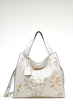Laser Cut Aria Satchel in White | Awesome Selection of Chic Fashion Jewelry | Emma Stine Limited