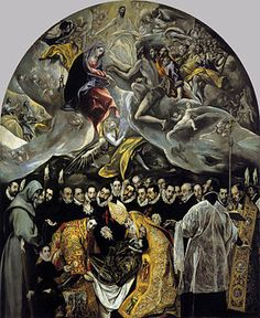 "The Burial of Count Orgaz - El Greco.  1586.  Oil on canvas.  15' 1 1/4"" X 11' 9 3/4"".  Santo Tome, Toledo, Spain."