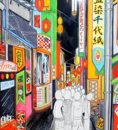 Japanese modern art Tokyo, look how the people are blank in a colorful world. Overshadowed by the commercial and superficial, blank slates for others to market image onto