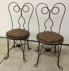 Old Vtg Black Wrought Iron Twisted Metal Unique Ice Cream