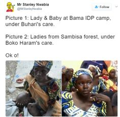 A Twitter user Stanley Nwabia shared these side by side photo of a malnourished lady with her son in IDP camp and healthy looking Chibok girls who were just rescued from Sambisa forest.