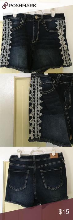 "Aeropostale ""high rise midi"" shorts slightly worn, with flower lace detailing on side Aeropostale Shorts Jean Shorts"