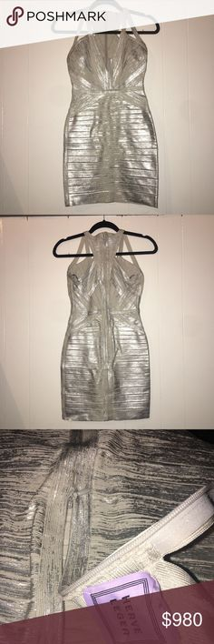 """Herve Leger Metallic Silver Bandage Dress Price firm & NO trades. 100% authentic Herve Leger Bandage dress. I've only worn this ONCE and has been folded & put away since then. You cannot hang Herve Leger dresses since they are quit heavy & could stretch & mess up the shape if hung for a period of time. Approx 28"""" total length. Herve Leger Dresses Mini"""