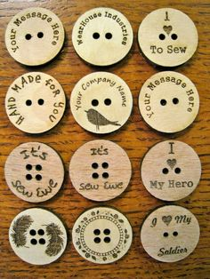 Custom Laser Engraved Buttons by WearhouseIndustries on Etsy Laser Art, Laser Cut Wood, Laser Cutting, Laser Cutter Projects, Cnc Projects, Articles En Bois, 3d Laser Printer, Gravure Laser, Wood Sealer