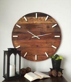 rustic wall clock oversized wall clock large wall clock 31 inch wooden clock