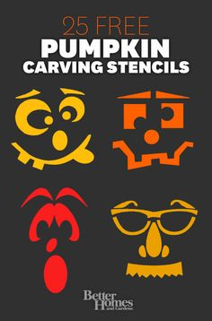 Free Face Stencils for Fun Halloween Pumpkin Carving Spooky Halloween, Holidays Halloween, Halloween Pumpkins, Halloween Crafts, Happy Halloween, Halloween Decorations, Halloween Stencils, Halloween Ideas, Halloween Clothes