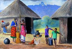 African Village Art Print featuring the painting Village Chores by Jane Wanjeri African Artwork, African Art Paintings, Village Drawing, Fine Art Amerika, Rajasthani Painting, Drawing Scenery, Photo Art Gallery, Composition Painting, Black Art Pictures