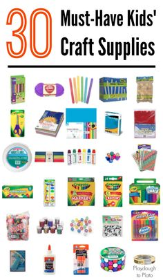 30 must-have kids' craft supplies. A go-to guide for stocking your kids' craft closet. {Playdough to Plato}