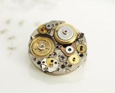 steampunk brooch with old gears vintage style by TheDiamondDust