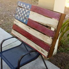 beautifully hand craffted American flag out of reclaimed pallet wood. on Etsy, $120.00