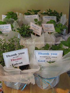 basil. chocolate basil, greek basil, mint, thyme, sunday school, teacher gifts, gift, giving a plant, free printable