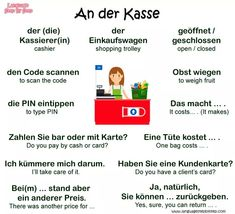 An der Kasse = At the pay desk German Grammar, German Words, Learn German, Learn French, German Resources, Deutsch Language, Learning Languages Tips, German Language Learning, English Language