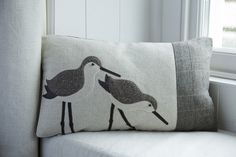 Handmade Dunlin wading bird cushion with brown tweeds and wool woven in Wales
