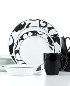Corelle Dinnerware, Noir 16 Piece Set - Casual Dinnerware - Dining & Entertaining - Macy's