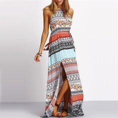 Beach New Arrivals Boho Summer Maxi Dresses Women Sexy Ladies Multicolor Sleeveless Vintage Print Split Long Dress Like and share this pure awesomeness! Get it here